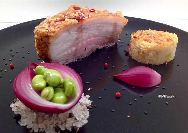 Recipe: Delicious Pork belly with potato pie and red onion