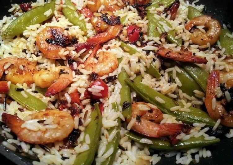 How to Make Homemade Yummy Yummy Shrimp, Snap Peas, & Rice