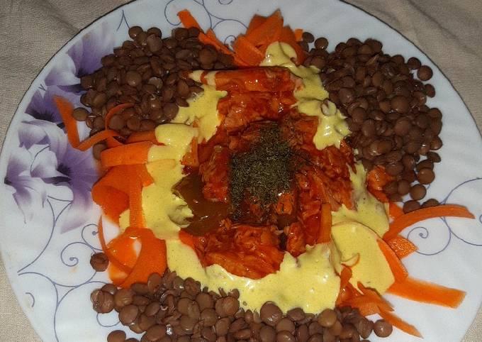 Tasty Lentil-Carrot-Tuna salad