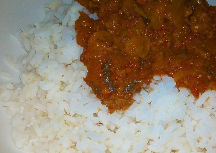 Recipe of Quick Rice with mince meat sauce