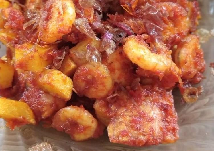 Balado UTK, udang tempe kentang