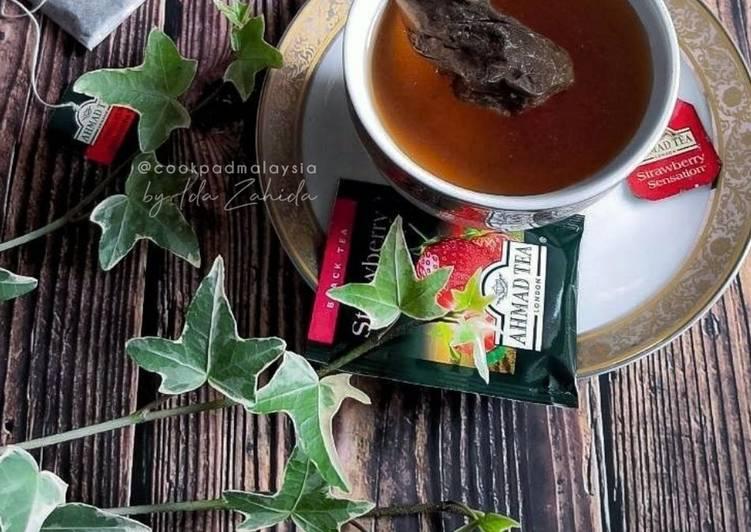 Teh 'O' panas strawberry - resepipouler.com