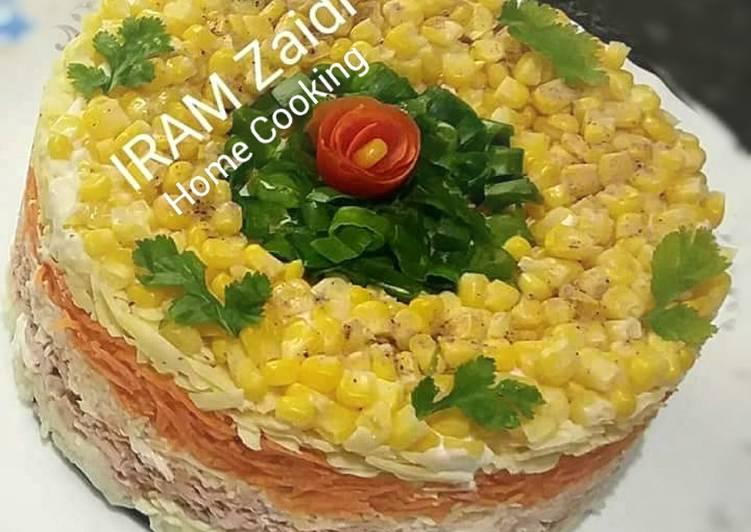 Recipe of Ultimate 🍝🌽🍅🐟 MIMOSA RUSSIAN SALAD 🐟🍅🌽🍝