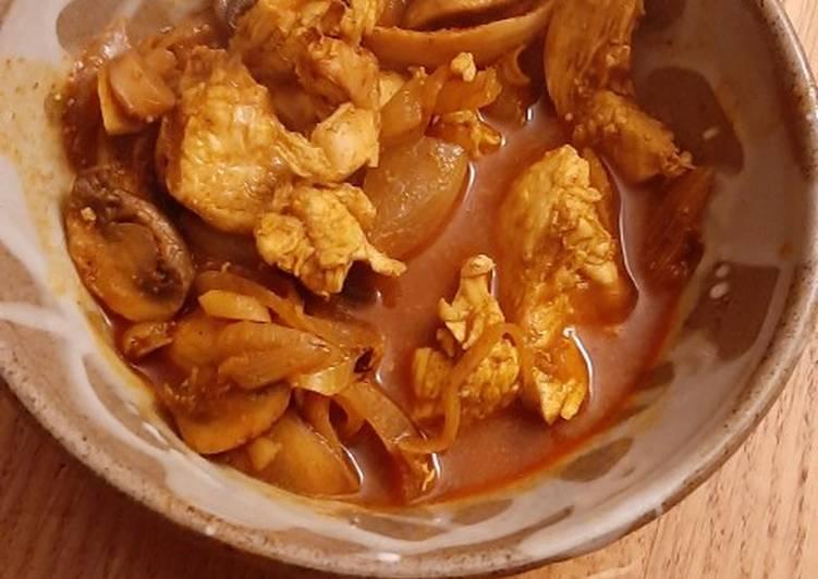 Pollo al curry bajo en calorías
