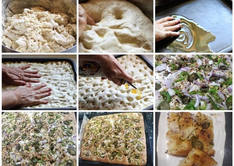 Delicious veg Focaccia no knead bread
