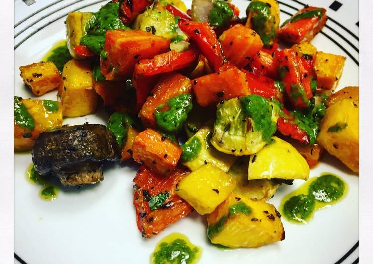 Autumn Roasted Vegetables with Chimichurri Sauce