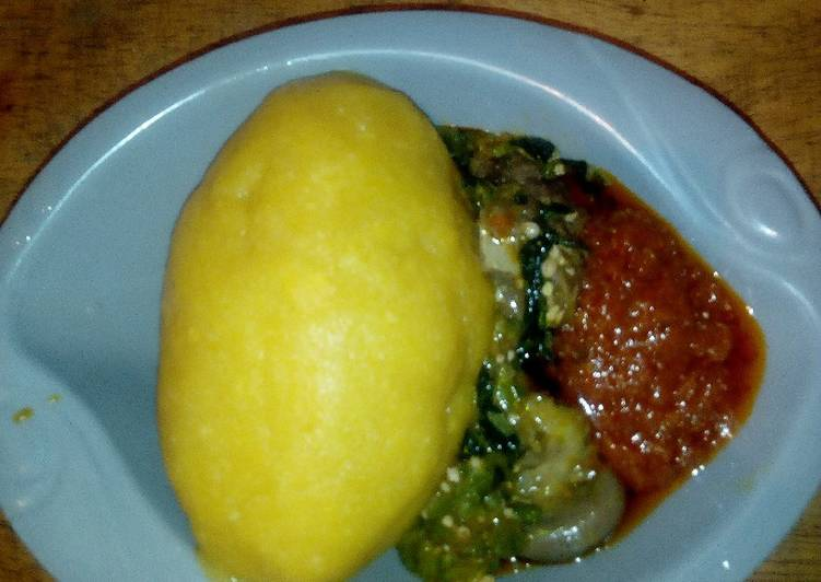 Eba and Okro soup with Left over stew