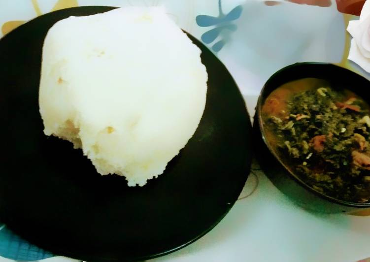 Pounded yam and Vegetables soup