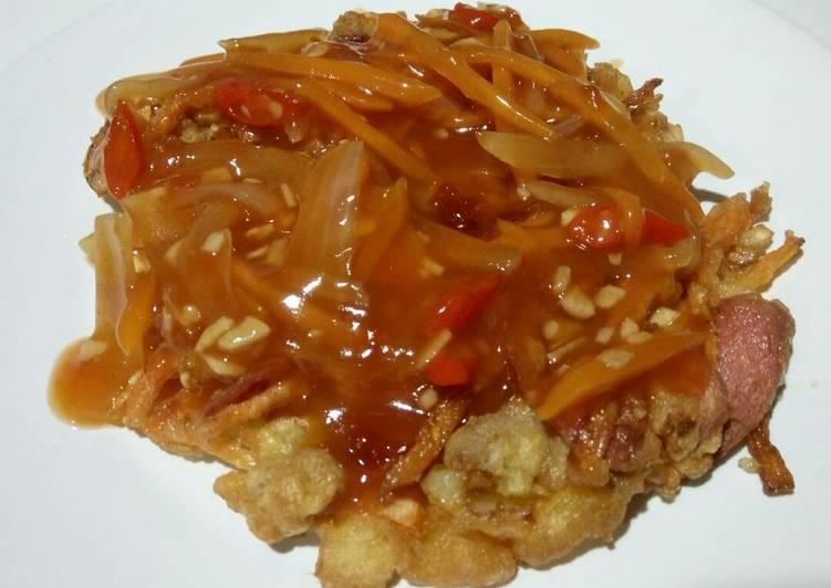 Fuyunghai Seadanya ala anak kosan (telur dadar campur saus asam