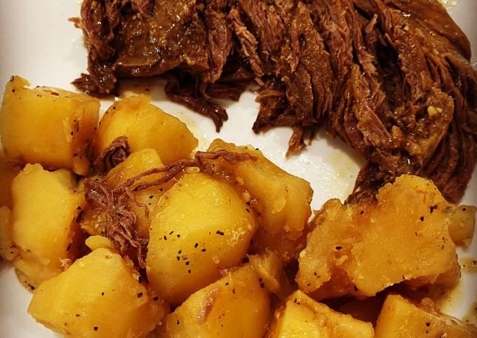 4 Ingredient Frozen Instant Pot Roast and Potatoes