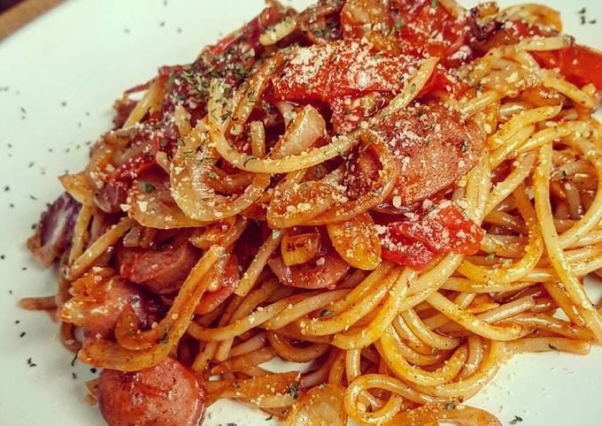 Recipe of Heston Blumenthal Napolitan Japanese Spaghetti with Chicken Sausage