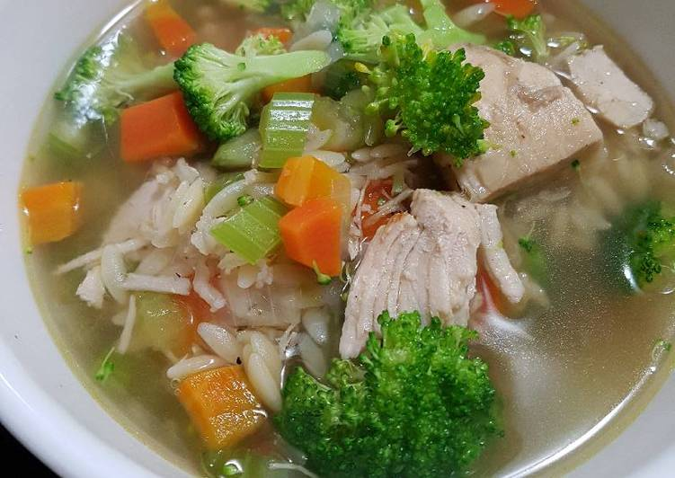 Spicy Turkey (or chicken) Orzo Soup