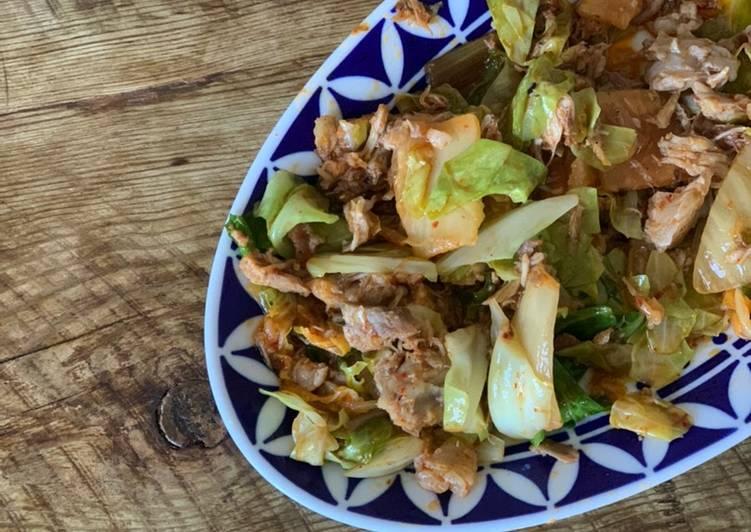 Pork, Kimchi, Cabbge saute - Leftover idea