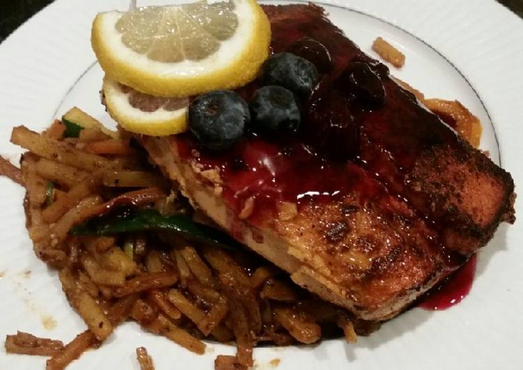 How to Prepare Quick Brad's blackened salmon with blueberry balsamic reduction