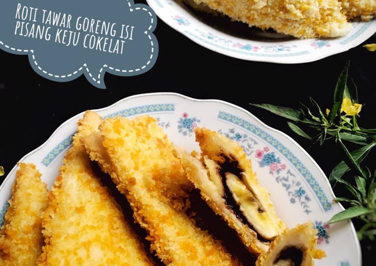 Roti Tawar Goreng Isi Pisang Keju Cokelat