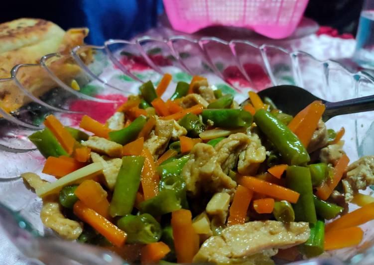 (4) Oseng buncis wortel with tahu kecap
