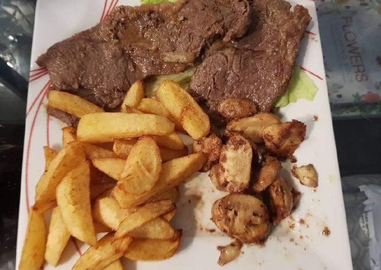 My Garlic Butter Sirloin Steak with mushrooms & thick cut Chips