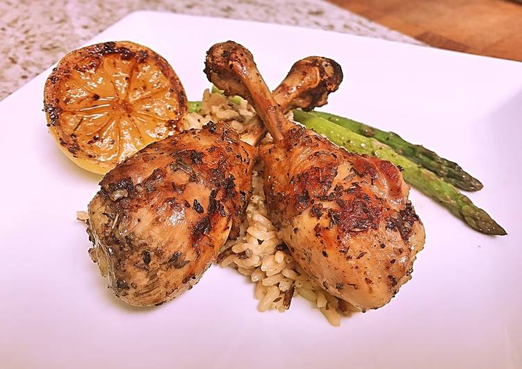 Recipe: Yummy French cut grilled lemon pepper drums with wild rice and asparagus