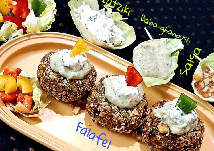 Top 100 Dinner Ideas Special Falafel-Salsa-Baba ghanoush-Tzatziki-Salad