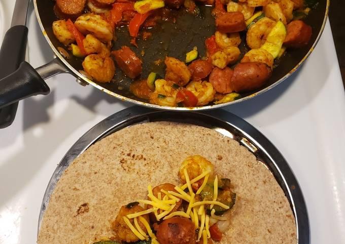 1 skillet andouille sausage & shrimp