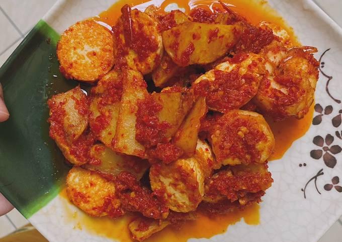 Balado kentang, udang, kongkee tofu