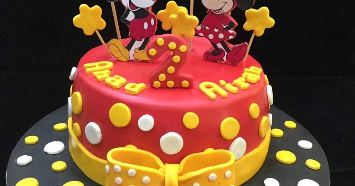 Fine Mickey Minnie Mouse Cake Recipe By Sara Zaffar Cookpad Funny Birthday Cards Online Overcheapnameinfo