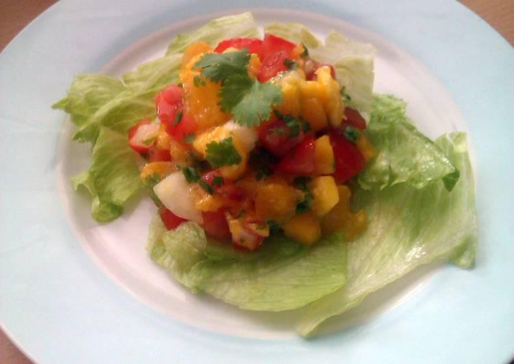 Steps to Make Speedy Vickys Mango and Peach Salsa, GF DF EF SF NF