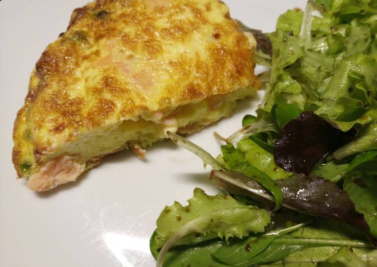 Smoked salmon, pea and feta fritatta