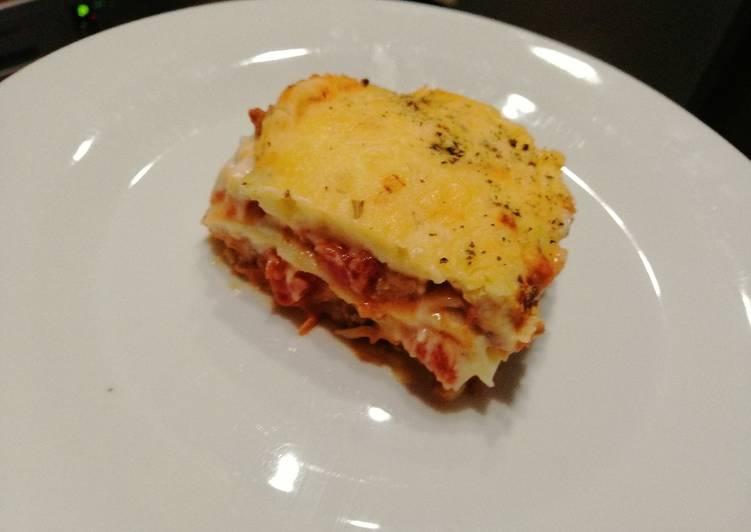 Cheesy, saucy lasagna