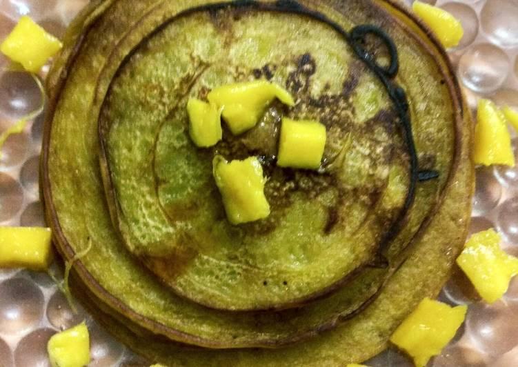 Steps to Make Quick Mango custard pancakes