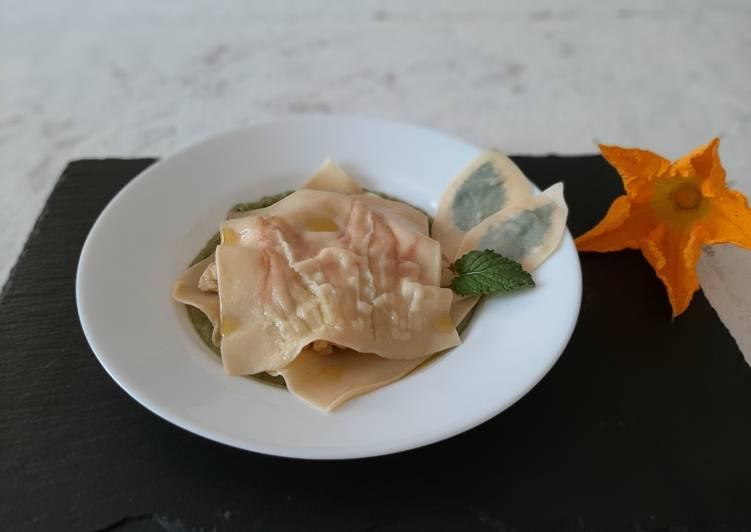 Ricetta Raviolo aperto zucchine e nasello