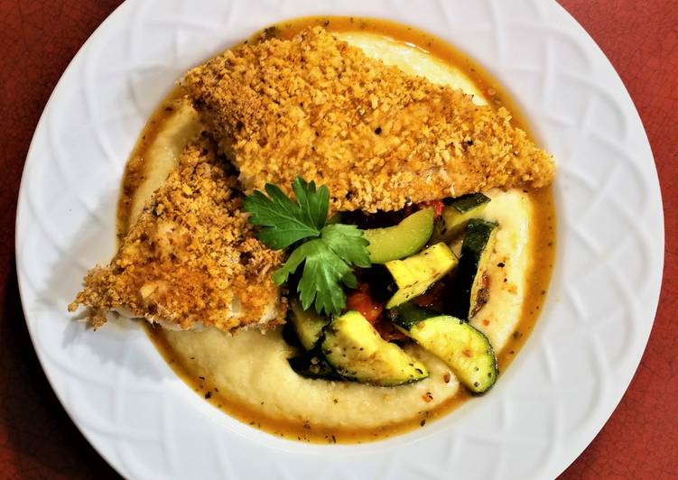 Oven Fried Fish and Grits