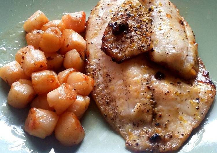 Honey butter Tilapia with scallops