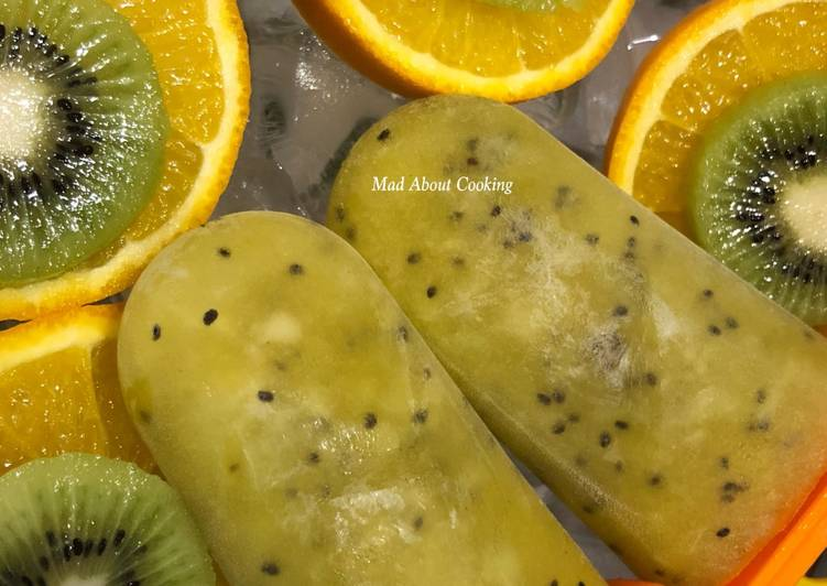 Orange Kiwi Popsicles – No Sugar Summer Healthy Treat – Kid's Favorite – Two Ingredients Treat