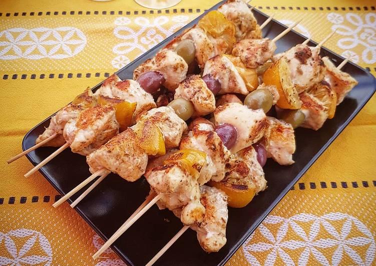Brochettes de poulet au citron confit