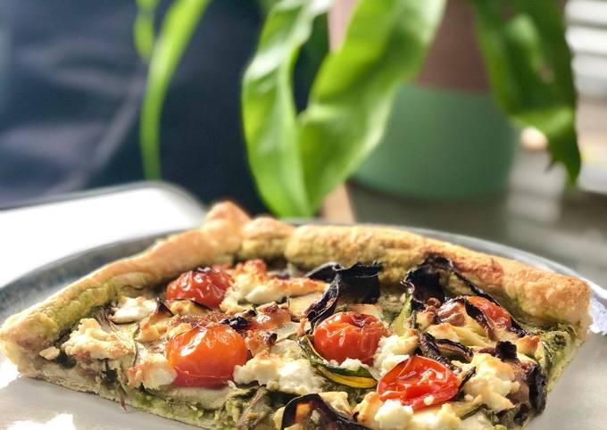 Steps to Make Jamie Oliver Spring Pesto, Veg and Feta Tart