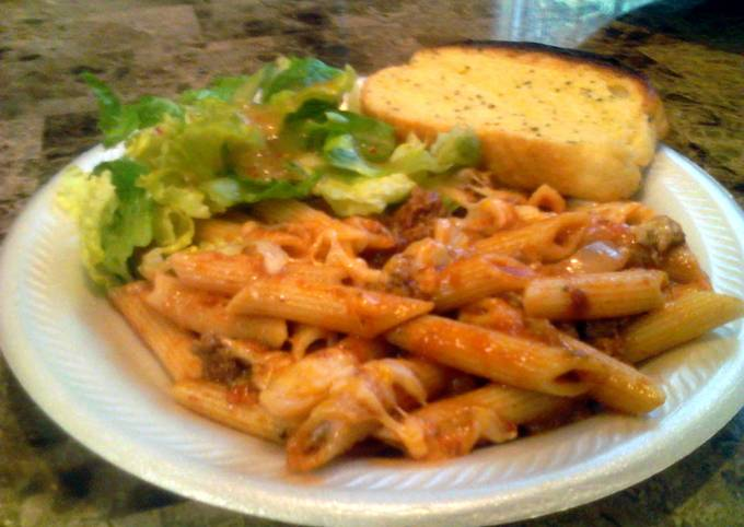 Easy Cheesy Penne w/ Chunky Meat Sauce