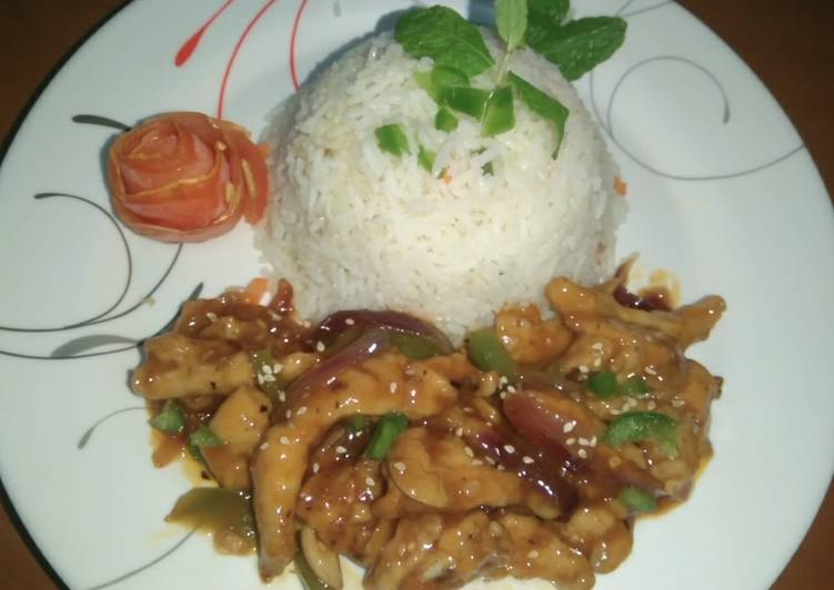 Dragon chicken with Garlic Rice