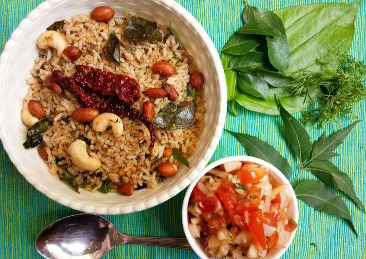 Recipe of Speedy The 4-Leaves South Indian Rice with salad