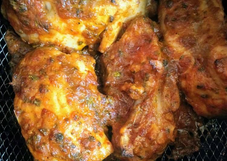 Air-Fried Schezwan Chicken Fritters