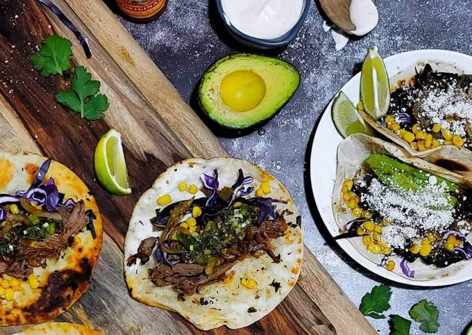 Slow Cooker Lamb Tacos with Mint Relish and Spicy Aioli