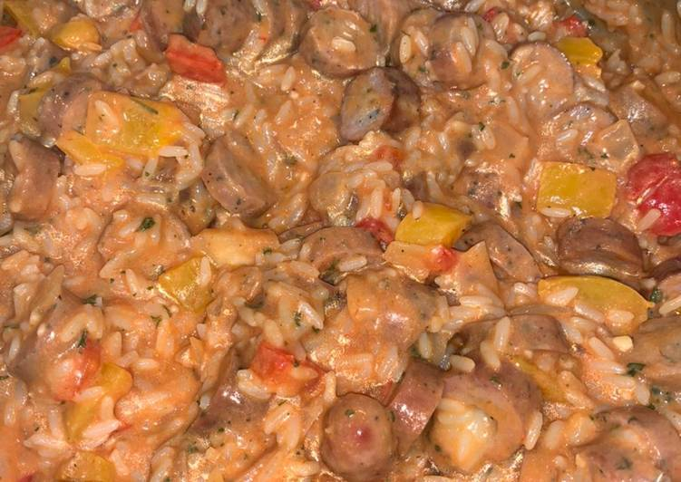 25 Minute Recipe of Super Quick Homemade Asiago chicken sausage and peppers with rice skillet