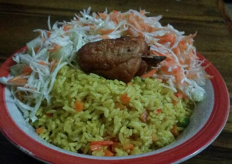 Fried Rice and Chicken with coleslaw