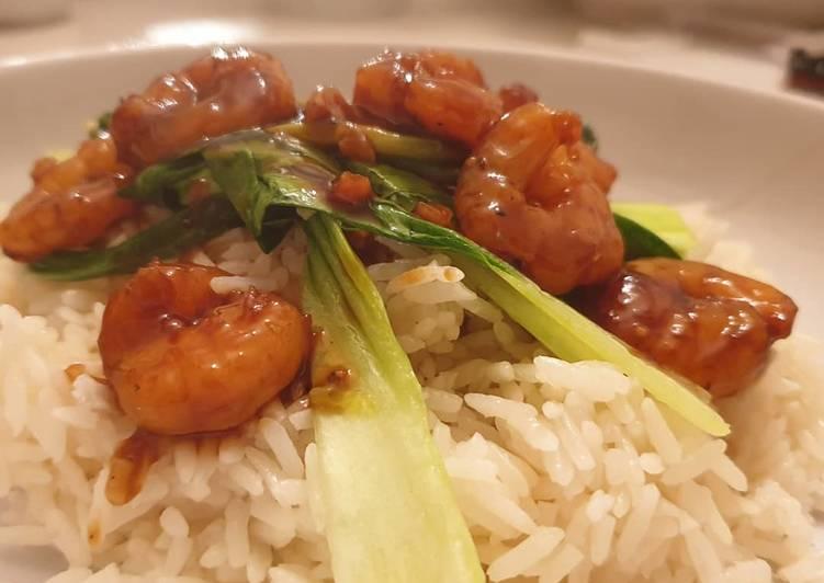 Recipe of Super Quick Homemade Teriyaki prawns with pak choi jasmine rice