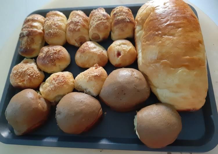 Aneka roti dengan campuran tepung komachi metode autolysis