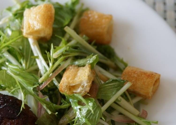Simple Way to Prepare Perfect Mizuna and Aburaage Salad