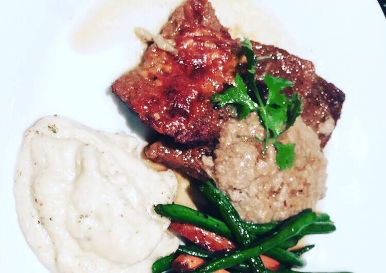 Steak cauliflower mash and tossed veggies and balsamic mushroom sauce