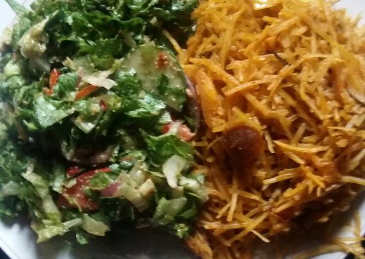 Steps to Prepare Most Popular Abacha and Letus salad #myhubby'sfavourite
