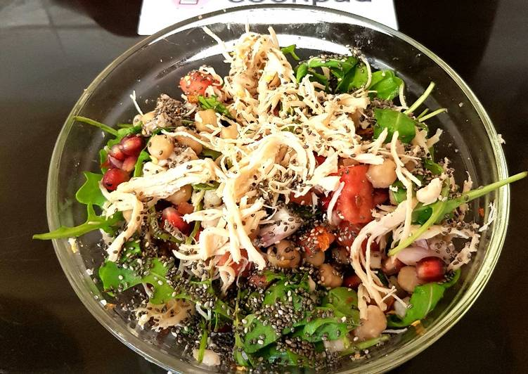Recipe of Quick My Barley & Chic pea & Chicken Salad. 😘