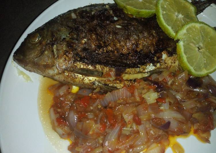 How to Make Most Popular Grilled fish with onion sauce